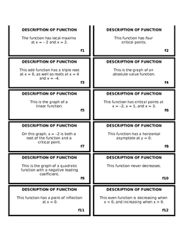 Functions and Derivatives Matching Activity