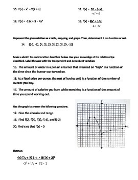 Functions and Equations Test
