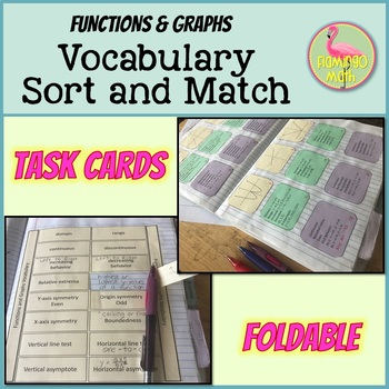 PreCalculus: Functions and Graphs Vocabulary Sort & Match Activity