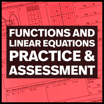Functions and Linear Equations Assessment and Practice Worksheet