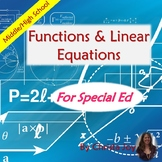 Introductory Functions & Linear Equations Unit for Special Ed with lesson plans