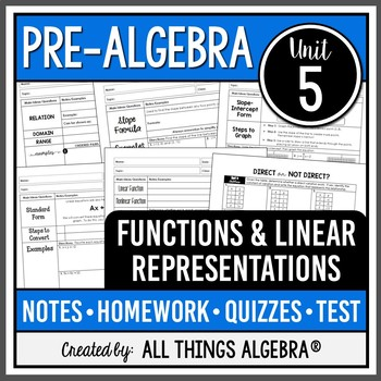Functions and Linear Relationships (Pre-Algebra - Unit 5)