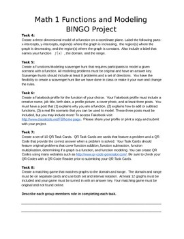 Functions and Modeling BINGO Project