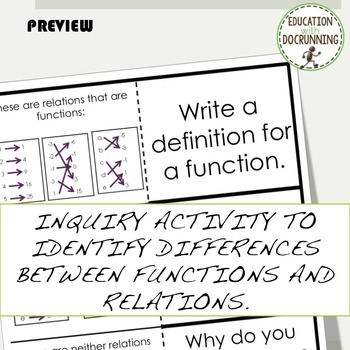 Functions and Relations Interactive Notebook and Card Sort Activity