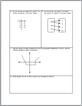 Functions and Relations Quiz