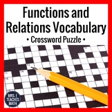 Functions and Relations Vocabulary Crossword Puzzle