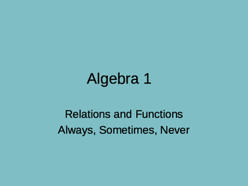 Functions and Relations activity