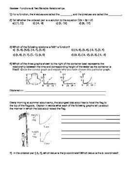 Functions and Two Variable Relationships Review