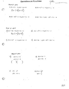 Functions f(x) Operations, Inverse, Domain & Range, and Interpreting From Graph