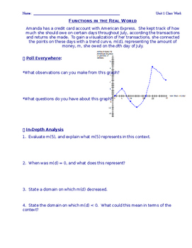 Functions in the Real World Mini Lesson Common Core Alligned