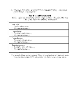 Functions of Government Graphic Organizer (Differentiated version included)