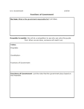 Functions of Government/ Preamble