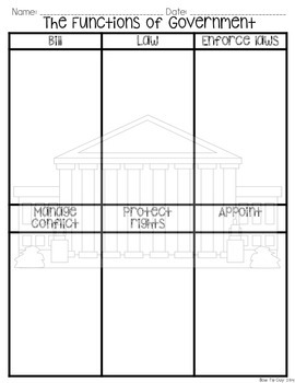 Functions of Government Vocabulary Sort {SS Interactive Notebook Activity}