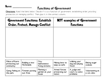 Functions of Government Sort