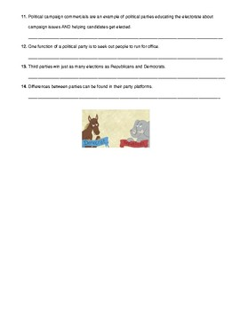 Functions of Political Parties T/F Make It True Quiz (Virginia Civics SOL 5ab)