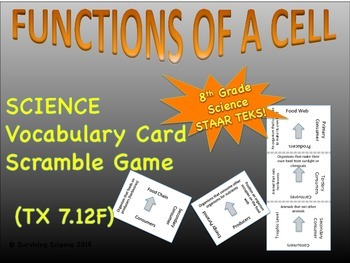 Functions of a Cell: Vocabulary Scramble Card Game (TX TEK
