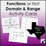Functions or Not, Domain and Range Activity Cards (A12A, 8.5G)