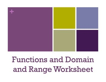 Functions/Domain and Range Worksheet