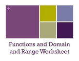 Functions/Domain and Range Worksheet