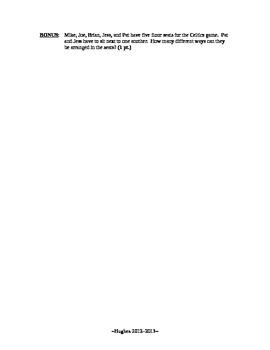 Fundamental Counting Principal, Permutations and Combinations Quiz