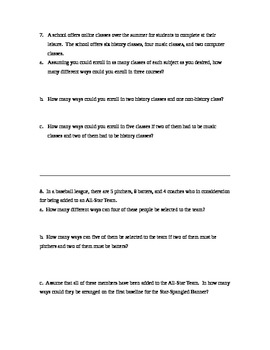 Fundamental Counting Principal Worksheet 4