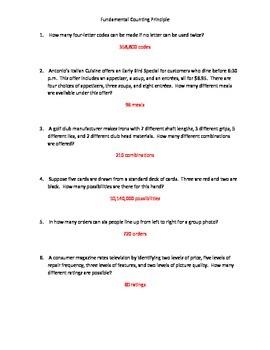Fundamental Counting Principle Worksheet