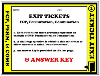 Exit Ticket - Fundamental Counting Principle, Permutation,