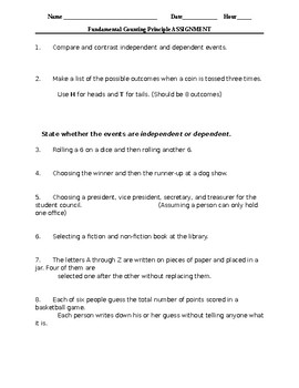 Fundamental Counting Principle Worksheet (Includes Independent ...