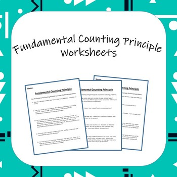 Fundamental Counting Principle Worksheets