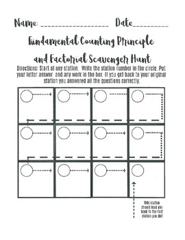 Fundamental Counting Principle and Factorial Scavenger hunt