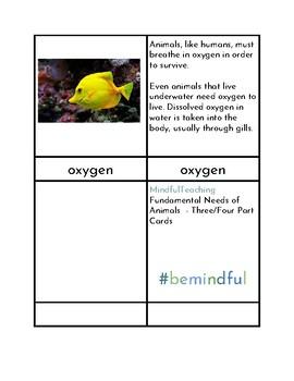 Fundamental Needs of Animals - Three Part Cards