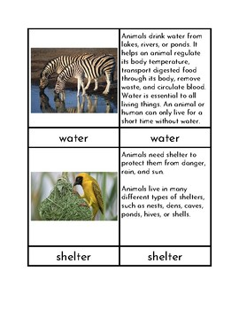 Fundamental Needs of Animals - Three Part Cards