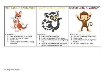 Fundamental movement skills animal cards