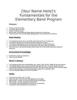 Fundamentals for the Elementary Band Program