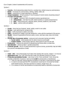 Fundamentals of Economics Notes