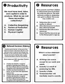Fundamentals of Economics Review Task Cards