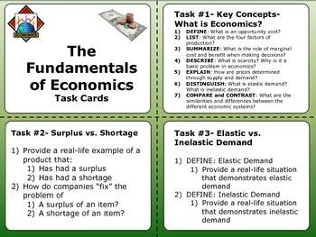 Fundamentals of Economics Task Cards