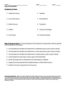Fundamentals of Economics Vocabulary & Main Concepts
