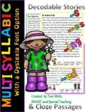Orton-Gillingham Decodable Stories Multisyllable Words (Dyslexia Font)