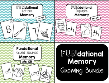 Fundational Phonics Memory - Growing BUNDLE! (Letters / Digraphs / Glued Sounds)