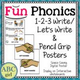 Fundationally FUN PHONICS Writing and Pencil Grip Posters