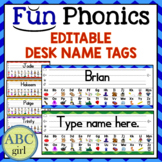 Fundationally FUN PHONICS Editable Desk Name Tags Back to School Classroom Decor