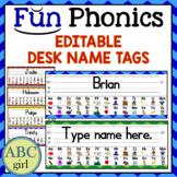 FUN PHONICS Editable Desk Name Tags Back to School Classro