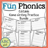 FUN PHONICS Editable Name Writing Practice Bundle