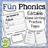 FUN PHONICS Editable Name Writing Practice Pages (Portrait)