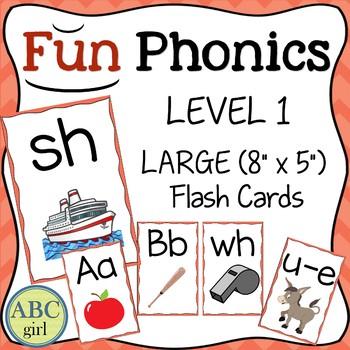 Fundationally FUN PHONICS Level 1 Letter-Keyword-Sound Large Flash Cards