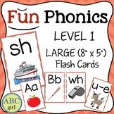 FUN PHONICS Level 1 Letter Keyword Sound Large Flash Cards
