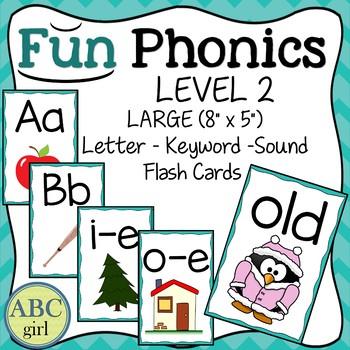 Fundationally FUN PHONICS Level 2 Letter-Keyword-Sound Large Flash Cards