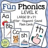 FUN PHONICS Kindergarten Letter Keyword Sound Large Flash Cards