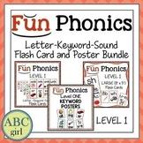 Fundationally Phonics Letter-Keyword-Sound Flash Card & Poster Bundle Level 1